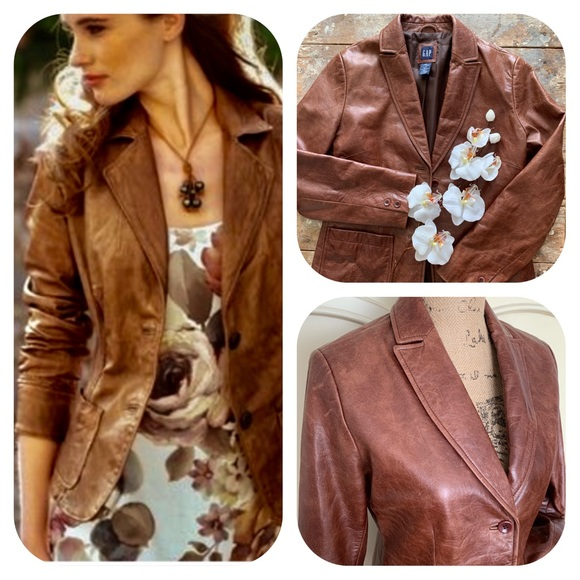 GAP Jackets & Blazers - GAP Brown Leather Vintage Blazer / Jacket